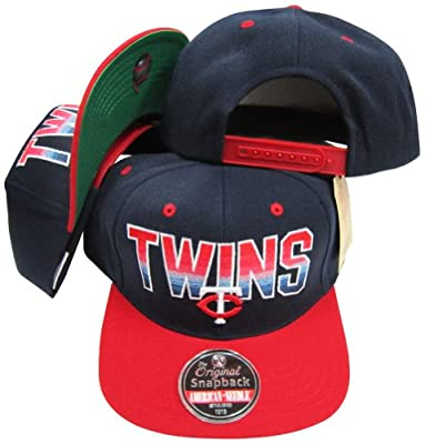 American Needle Minnesota Twins Navy/Red Two Tone Plastic Snapback Adjustable Plastic Snap Back Hat/Cap