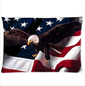 Best Seller The Flying Bald Eagle And USA Flag Pillowcase,One Side Pillowcase Pillow Cover 20x30 inches by ruishername
