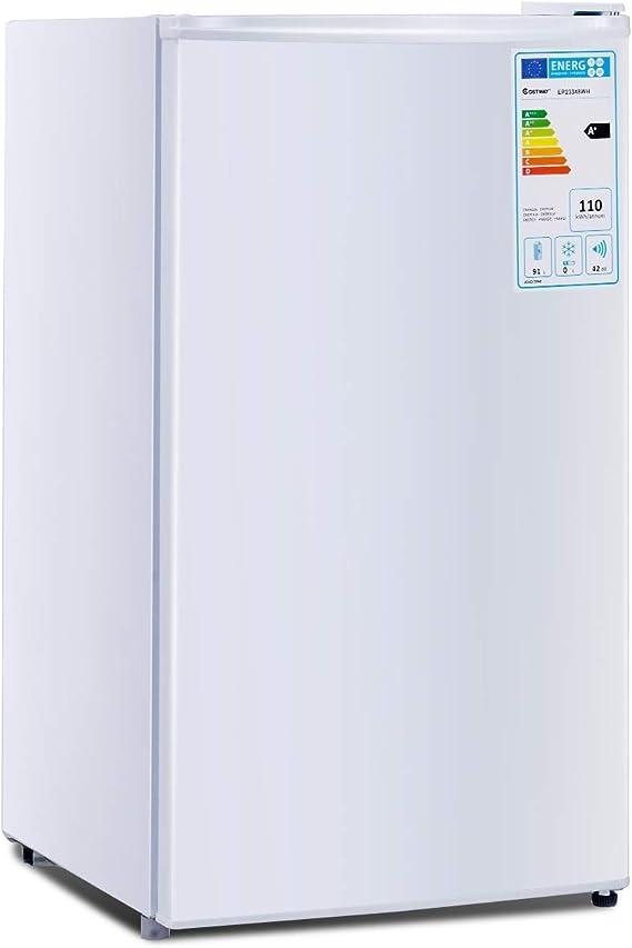 GOPLUS 123L Mini-K/ühlschrank Standardk/ühlschrank K/ühl-Gefrier-Kombination Hotelk/ühlschrank mit Gefrierfach Wei/ß Farbwahl 83,1 x 53,2 x 52,4 cm