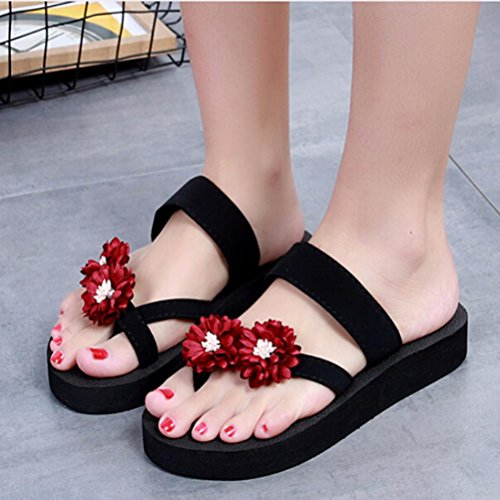 Fheaven Women Summer Beach Slipper Shoes/Bath Slippers Flip Flops Shoes Toe Ring Platform Wedge Shoes Red obsC6flL