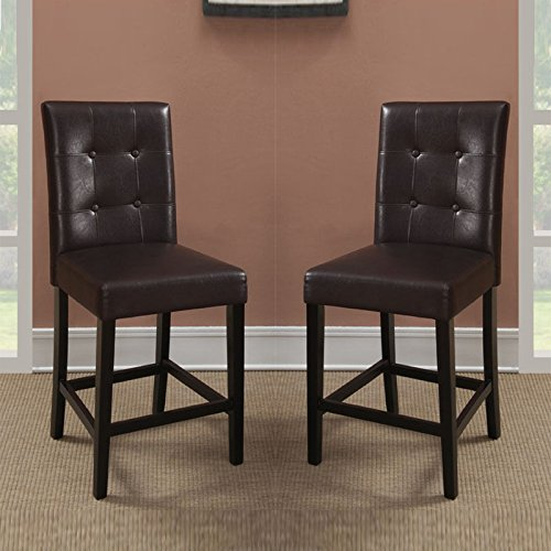 Cheap Set of 2 Brown Soft Faux Leather Upholstered Counter Height Stools High Chairs