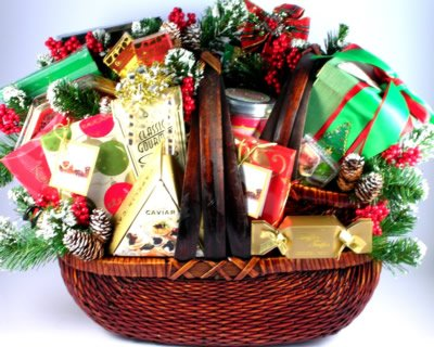 Unique Walnut Stained Basket, Gourmet Christams Special by Organic Stores