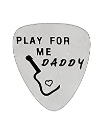 Men Play for Me Daddy Guitar Pick Father Gifts for Dad Papa from Daughter Son Stainless Steel Pendant