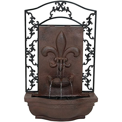 Sunnydaze French Lily Solar Outdoor Wall Fountain, Iron, Solar Only Feature, Includes Solar Pump and Panel