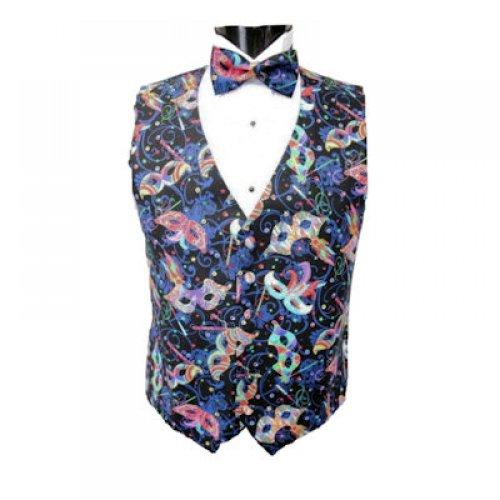 Mardi Gras Feather Masks Tuxedo Vest and Bowtie Size Medium