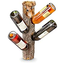 Deer Head On Weathered Log Rustic Wall Mounted 4 Bottle Wine Holder 19 Inch
