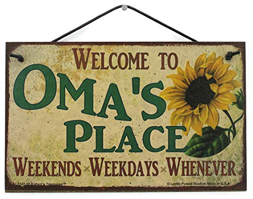 Grandma Places - 5x8 Vintage Style Sign with Sunflower Saying,