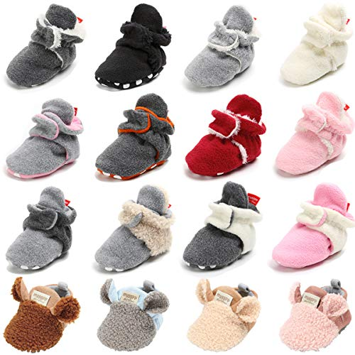 Baby Boys Girls Slippers Cozy Fleece Booties with Grippers Bottom Newborn Pram Soft Sole Infant Socks First Walker Crib House Stay On Shoes (0-6 Months Infant, A-Light Grey)