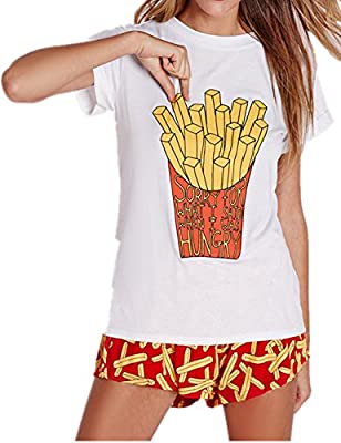 Haola Women French Fries Print Loose Tops Casual t Shirt Simple Funny Tees