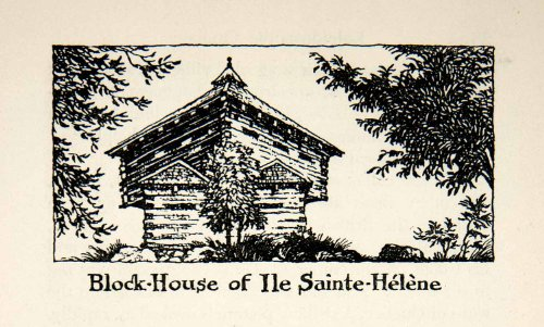 1947 Lithograph Block House Fort Ile Sainte Helene Quebec Canada Horreo Military - Original In-Text - Canada Oakley Military
