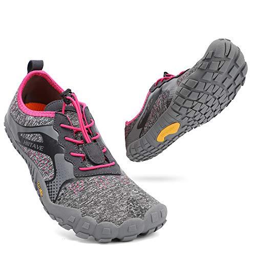 ALEADER hiitave Womens Barefoot Cross Training Shoes Wide Toe Minimalist Trail Runners Dark Gray/Fushia US 8/8.5 Women
