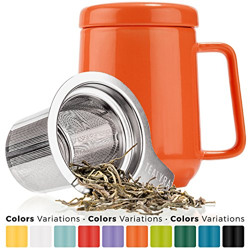 Tealyra - Peak Ceramic Orange Tea Cup Infuser - 19-ounce - Large Tea High-Fired Ceramic Mug with Lid and Stainless Steel Infuser - Tea-For-One Perfect Set for Office and Home Uses - 580 milliliter (Stainless Steel With Infuser Lid)