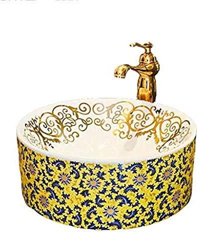 カウンター盆地バスルームラウンド洗面台のシンクセラミック容器洗浄ハンズプール蛇口セット以上