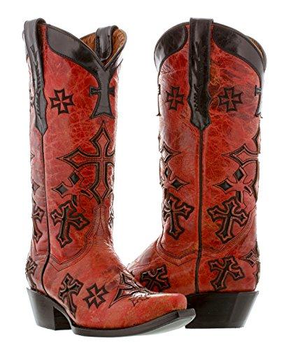 Cowboy Professional - Women's Red Cross Overlay Leather Rocker Cowboy Boots Snip Toe 9 Medium (B,M)