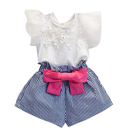 WOCACHI Toddler Baby Girls Clothes, Girls Lace T-Shirt+Stripe Shorts Set Clothes Suit BU/110 Sundress Mom Daughter Son Coverall Layette Sets Best Gift Multi Essentials 0-3M