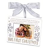 Lighthouse Christian Products Our First Christmas Metal Ornament Frame, White