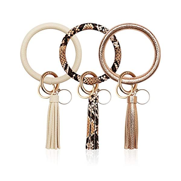 3PCS Key Chains Ring Bracelets, Leather Tassel Bangle Round Key Ring Wristlet Keychain for Women Girl and Valentine Birthday Party Gifts
