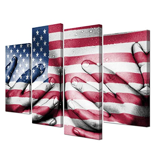 VVOVV Wall Decor Sexy Canvas Wall Art Vintage American Flag Pictures Woman Figure Art Poster Prints Stretched and Framed Ready to Hang 4 Panels
