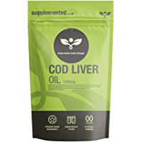 Cod Liver Oil 1000mg 180 Capsules, Softgels - Pure, High Strength UK Made. Pharmaceutical Grade