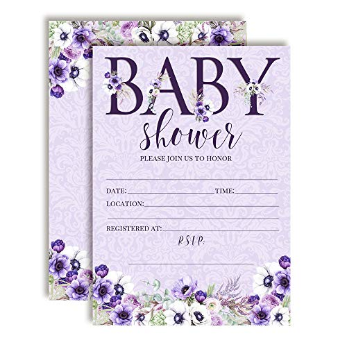 - Watercolor Violets Floral Baby Sprinkle Baby Shower Invitations, 20 5