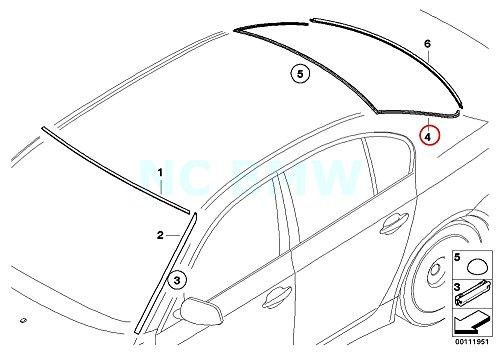 - Genuine BMW 5 Series E60 Sedan Rear Window Cover Moulding Trim OEM 51317057415