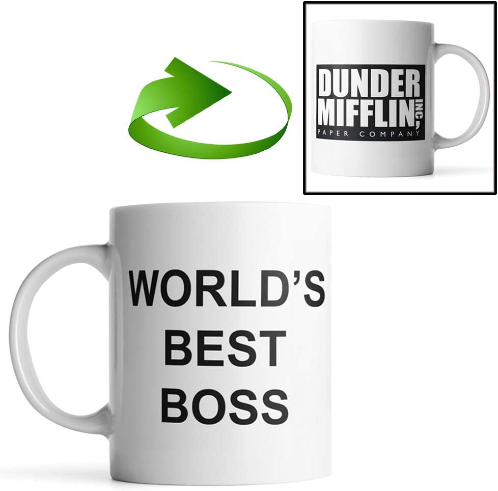 Dunder Mifflin (The Office) World's Best Boss TV Television Show Ceramic Mug Coffee (Tea, Cocoa) 11 OZ Mug, Official Michael Scott Mug As Seen On The Office