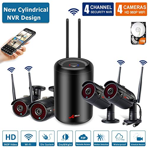 Wifi Security Camera System 4CH 960P Indoor/Outoodr Wirelss Security Camera System With 1TB HDD,Home Security Camera System 65ft Night Vision, Easy Remote View & Playback,Plug & Play ANRAN CCTV System