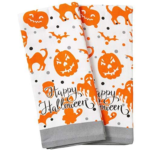 Halloween Fall Black Cat Pumpkins Witches Bats Cotton Dishtowel Set of 2 Kitchen Tea Towels (Happy Halloween)