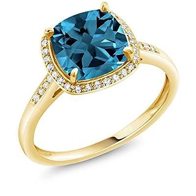2.74 Ct Cushion London Blue Topaz 10K Yellow Gold Ring