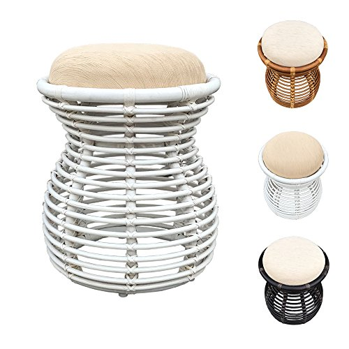 Rattan Ottoman Pouf Stool Opal with Cushion (White Wicker Ottoman)