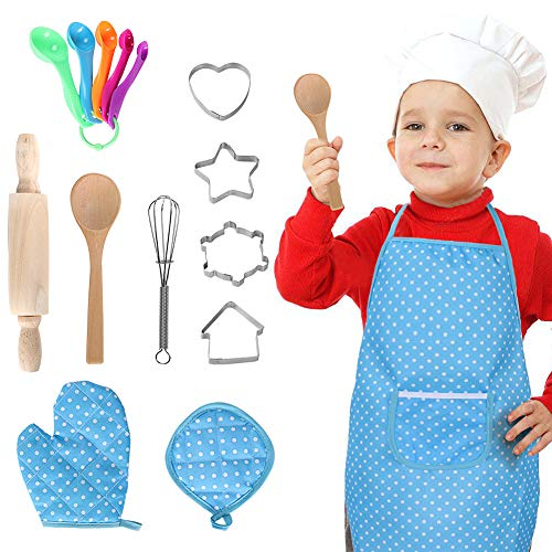 16 PCS Chef Set for Kids Cooking and Baking Set Role Play Dress Up Chef Costume with Apron, Chef Hat, Utensils, Oven Mitt for Boys Girls ()