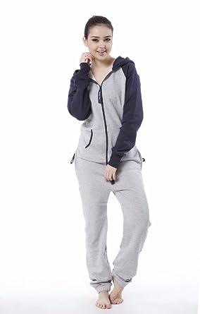 Prime Men Women Unisex Jumpsuit Hoodies Zip Up All In One Hooded Playsuit (Gray / Navy, XL)