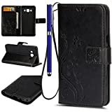 FESELE Samsung galaxy J5 2016 Wallet Case Fashion Synthetic PU Leather Wallet Type Magnet Design Butterfly Flower Flip Case Cover for Samsung galaxy J5 2016,PU Leather Flip Protective Magnet Case Cover with Stand Card Holder for Samsung galaxy J5 2016 With Free Stylus Pen-black