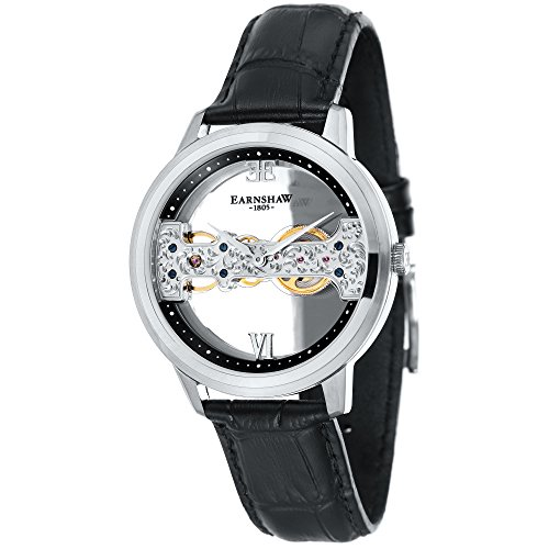 Thomas Earnshaw Men's 'CORNWALL BRIDGE' Mechanical Hand Wind Stainless Steel and Leather Dress Watch, Color:Black (Model: ES-8065-01)