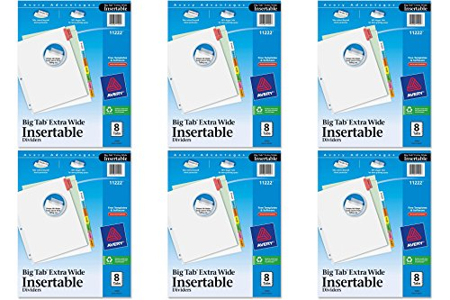 Avery WorkSaver Big Tab Insertable Dividers, 9 x 11 inches, Laser/Inkjet, Assorted Colors, 8-Tab Set, 1 Set (11222), 6 - Laser Dividers