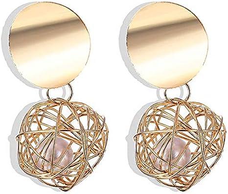 Pendientes de geometría de bola de color dorado para mujer Pendientes de perlas de metal Regalos de boda para fiestas Pendientes Joyas