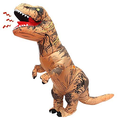 Inflatable Adult Dinosaur T-Rex Costume Suit Fancy Dress Halloween (Brown) - Fat Couple Halloween Costumes