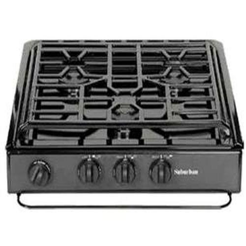 Suburban 3 Burner - Suburban 3233A 3 Burner Slide-in Cooktop with Sealed Burner - Porcelain SS w/Piezo Ignition