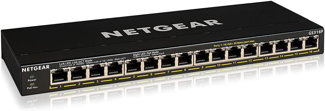 NETGEAR 16-Port Gigabit Ethernet Unmanaged PoE+ Switch (GS316P) - with 16 x PoE+ @ 115W, Desktop or Wall Mount