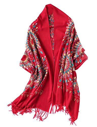 Women's Embroidered Oversize Tassel Shawl Scarf (Red)