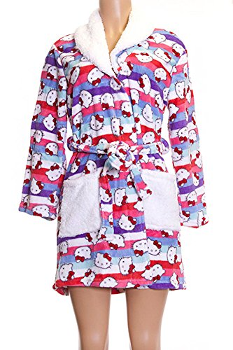 Hello Kitty Pattern Purple White Pocket Soft Plush Shower Gown