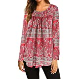 Hmlai Women Autumn Fashion O-Neck Flare 3/4 Flare Sleeve Slim Fit Blouse Shirt Tee Floral Print Swing Tunic Tops (2XL, Style 2-Red)