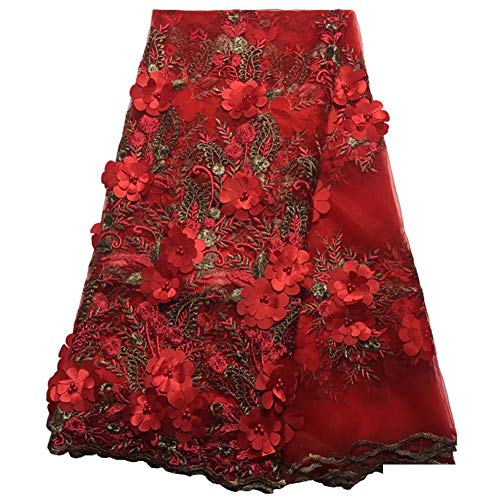- Milylace 5 Yards 3D Floral African Lace Fabric Nigerian Embroidered Mesh Lace Fabric with Beads for Wedding (Red)