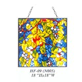 HF-09(N005) Rural Vintage Tiffany Style Stained Church Art Glass Decorative Grapes Square Window Hanging Glass Panel Suncatcher, 18''H18''W