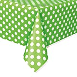 Unique Party 50261 - Plastic Lime Green Polka Dot Tablecloth, 9ft x 4.5ft