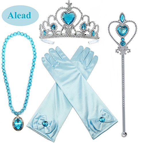 Princess Elsa Dress up Party Accessories 4 Piece Set Gloves, Tiara, Wand and Necklace(Lake Blue)