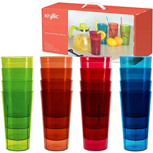 (Plastic Tumblers Drinkware Glasses Cups - Acrylic Tumbler Set of 16 Break Resistant 20 oz. in 4 Assorted Colors Restaurant Quality Tumblers Dishwasher Safe and BPA Free by Kryllic)