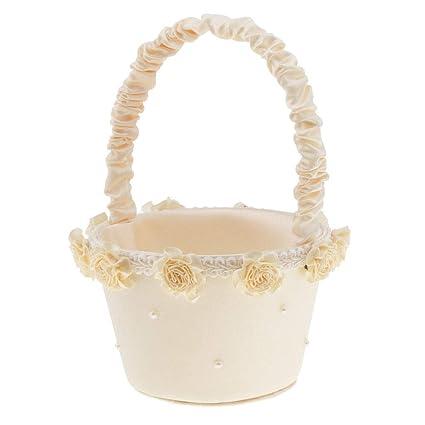 Amazon agordo trendy pearls flower satin flower girl basket agordo trendy pearls flower satin flower girl basket wedding reception party decor junglespirit Image collections