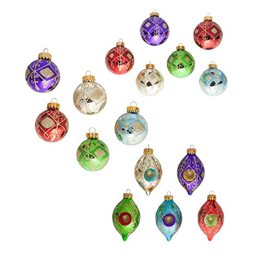 - Kurt Adler Glass Multi-color Glittered Decorative Ball And Finial Ornaments (3 Assorted Sizes)