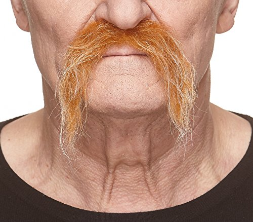 Mustaches Fake Self Adhesive, Novelty, Realistic Fu Manchu False Facial Hair, Honey with White Color